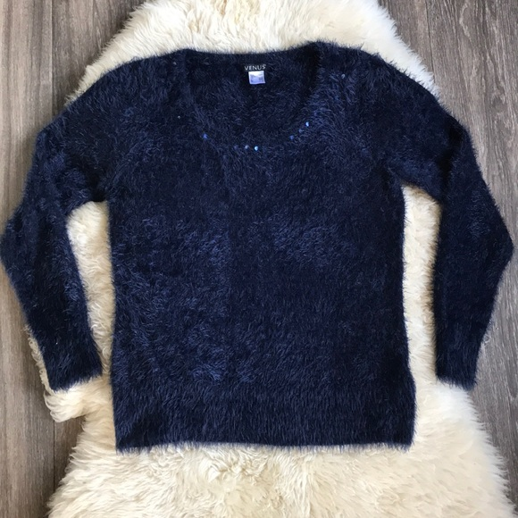 VENUS Sweaters - Fuzzy Navy Blue Sweater Large Venus Sequins
